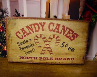 Candy Canes Miniature Wooden Plaque 1:12 scale for Dollhouses