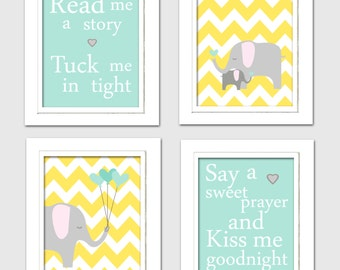 Nursery Quad, Mint Green and Yellow Nursery, Elephant Nursery, Set of 4 8X10, Mint green, Yellow