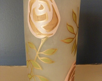 Vintage Frosted Glass Pink Rose/Flower Gay Fad Tumblers