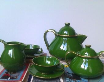 Tea Set Vintage Green, Vintage Pottery, Rare Dark Green Tea Set, Retro Teapot, Creamer and Sugar Bowl