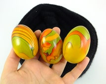 Vintage Wooden Eggs Russian Handmade Orange Wooden Egg Hand painted Wooden Eggs