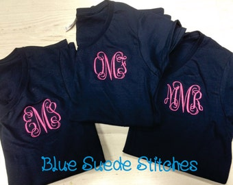 V-Neck Monogrammed Tshirt- Short Sleeve   Great for Bridesmaids, Teens, Graduation, Best Friends, Greek, and Birthday Gifts