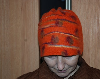 Felted hat Women hat Orange hat Winter hat Seasons hat  Autumn hat