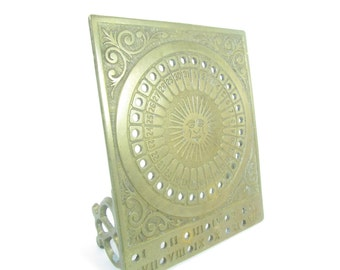 Brass calendar, brass sun, desk calendar, office decor,