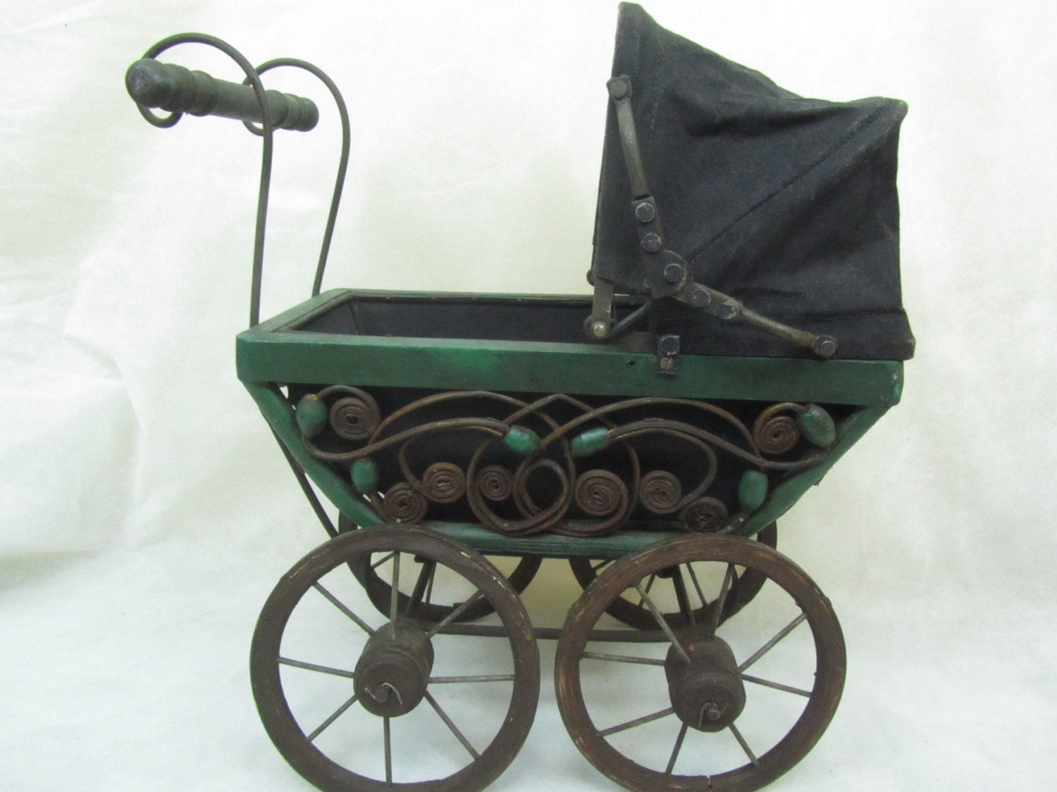Vintage Doll Carriage Antique Doll Buggy Wicker