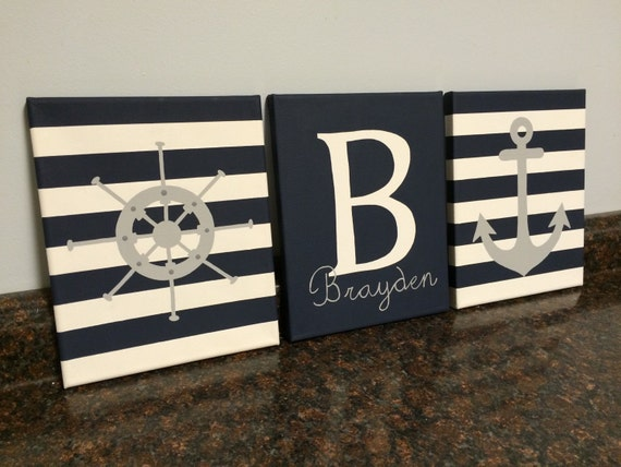 Nautical Nursery Wall Decor nautical nursery wall decor baby boy girl nautical paintings