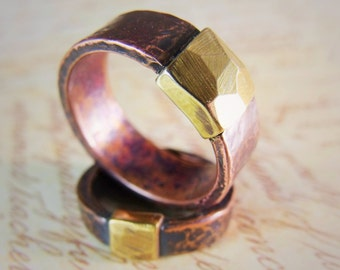 Ring Chunky Copper and Brass - Rustic Men's Ring.
