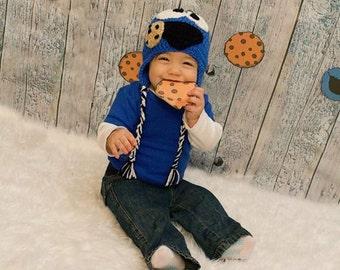 Cookie Monster inspired crochet hat