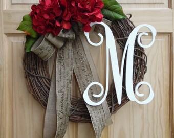 Christmas Wreath Burlap Wreath Door Wreath Home Decor Hydrangea Wreath Autumn Wreath Monogram Wreath Fall Wreath Thanksgiving Wreath