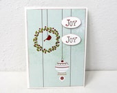 Joy Christmas Card - Soft Turquoise and Red - Red Bird - Holiday Card - Blank Card - Christmas Wreath