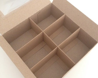 Kraft Card Square Gift Presentation Box with 3 Removable Insert Divider With or Without Window (20)