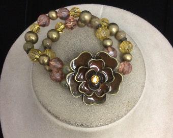 Vintage Glass Beaded Enameled Floral Bracelet