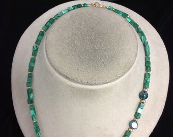 Vintage Shades Of Green Glass Necklace