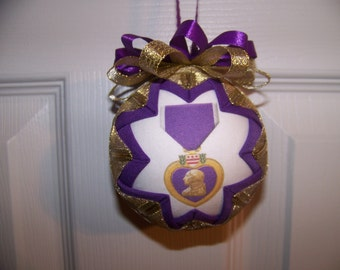 Purple Heart Medal Quilted Ornament/Military Quilted Ornament