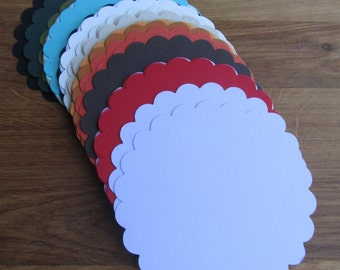 50 Round Scallop Gift Tags--Cardstock Tag--Gift Wrap Embellishment--Paper Tag