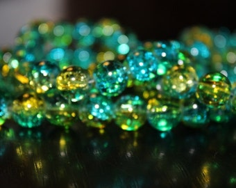 80 approx. aqua and yellow 10 mm crackle glass beads, 1.5 mm hole, round
