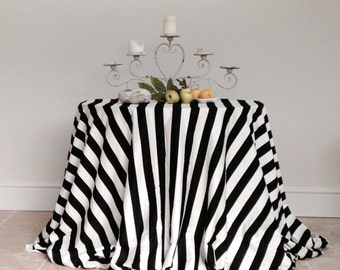 """Black & White Stripe 120"""" Round Tablecloth in a quality sateen cotton fabric."""