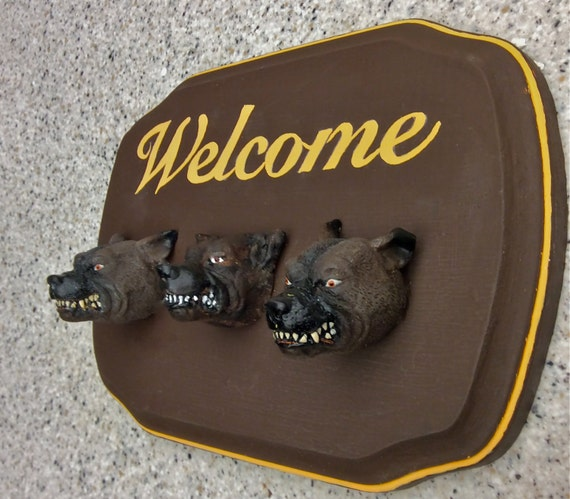 Items similar to unique welcome sign gag gift dog for Unusual dog gifts