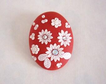 Polymer clay brooch, Pomegranate red brooch, Polymer clay floral brooch, Floral Cameo brooch