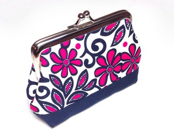 Coin purse - Funky Floral print pink and navy