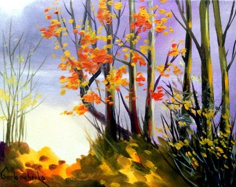 AUTUMN -original oil painting by Tetiana - Autumn Landscape Painting