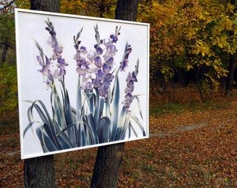 Irises Silk Painting. Hand painted silk. Batik painting on silk. Iris. Flowers silk paintings. Blue, green. Florel Silk art painting
