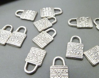 BULK -  Antique Silver Lock Charms -25 pcs - Tibetan Silver Charms for Jewelry Making or Scrapbooking -MC0328