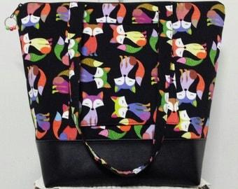 Large Tote Bag,Vinyl Bottom, Fox, 3 Interior Pockets, 1 Exterior Pocket, Diaper Bag, Large Purse, Weekend Bag, Travel Bag.