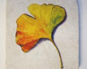 Ginkgo Leaf Tumbled Stone Trivet Original Watercolor
