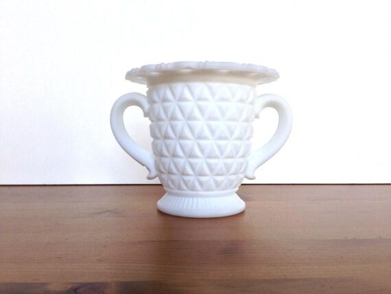 Vintage Imperial milk glass handled sugar satin finish wedding decoration