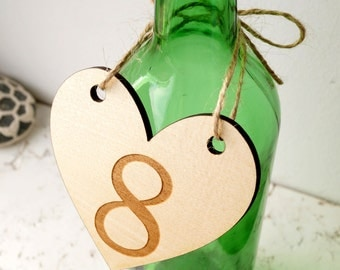 Wedding table number, wooden table numbers, rustic heart table numbers, unfinished wood numbers, diy wedding table decoration