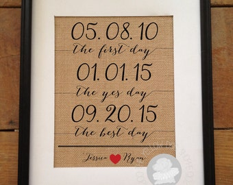 SALE The First Day, The Yes Day, The Best Day | Important Dates Burlap Print | Valentine's Day Wedding/Anniversary Gift | Frame not included