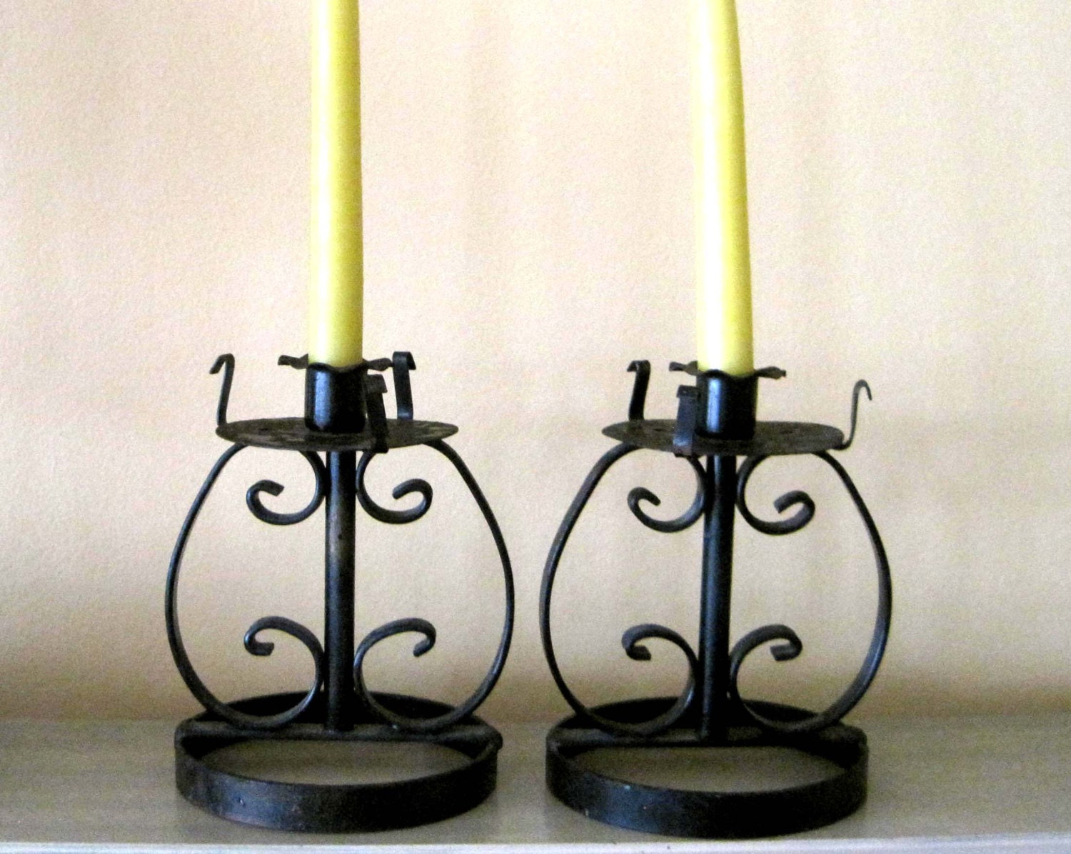 Wrought Iron Candle Holders Goth Gothic by SharetheLoveVintage