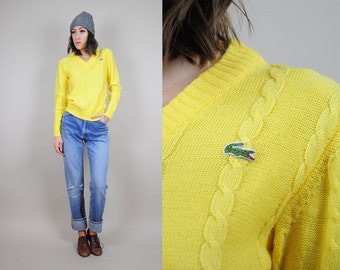 LACOSTE vtg 80's cableknit SWEATER bold yellow v-neck preppy Tennis ivy • Small