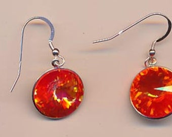 Earrings with dazzling vintage Swarovski rivoli crystals - ultra red - 16 mm
