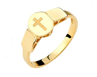 14K Yellow Gold Cross Ring, Cross Ring, Cross Jewelry, Engraved Cross Ring, Engraved Ring, Engraved Jewelry, Gold Cross Ring, Gold Cross