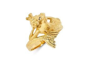 14K Yellow Gold Mermaid Ring, Mermaid Ring, Mermaid Jewelry, Gold Mermaid, Gold Ring, Sea Jewelry, Fancy Jewelry, Mermaid