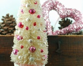 White Bottlebrush Tree in Pink Glass Base with Pearly White and Red and Pink Vintage Mercury Glass Beads