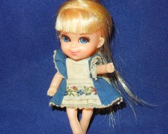 Vintage Mattel Liddle Kiddle Storybook Alice Wonderliddle doll 1968 Alice in Wonderland part 7 dolls of the Storybook Kiddles Series