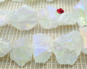15 inches matte Titanium Coated Mystic Drilled Crystal Quartz Nugget Stone in 12-17mm Thickness X 20-30mm length