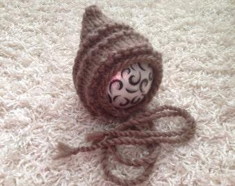 NEWBORN knit pixie style bonnet roving