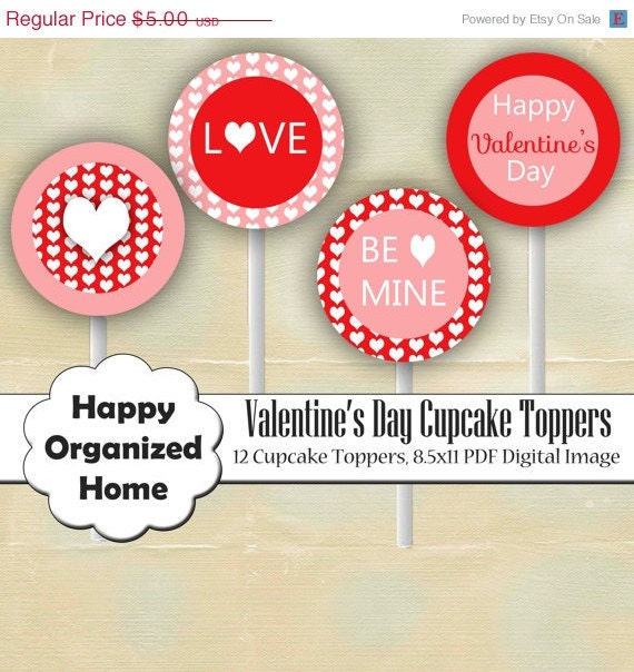 60% OFF 2 DAY SALE Valentine's Day Hearts Party - Printable Cupcake toppers, Valentines Day Cupcake Topper, Printable Party - Instant Downlo