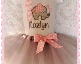 Elephant Birthday Tutu Set