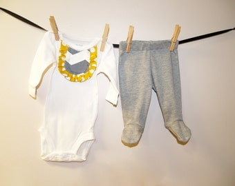 Newborn Girl Going Home Outfit, Newborn Footed Pant, Ruffle Bodysuit, Newborn Pictures Outfit, Baby Girl Outfit, Mustard Gray Newborn Outfit