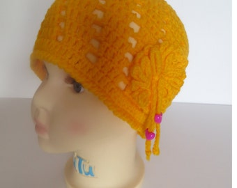 Crochet  Girls Hat, Crochet Toddler Hat, Yellow Hat,  24 Months (2T) to 4T, Toddler Clothes