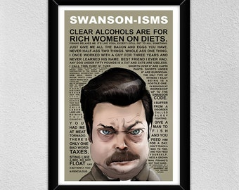 Ron Swanson Poster // Nick Offerman -- Ron Swanson // Quotes // Christmas Gift // Parks and Recs