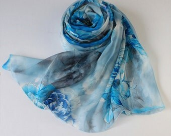 Blue Floral Silk Scarf - Floral printed silk Scarf - Blue Silk Chiffon Scarf with Floral Print - S-24