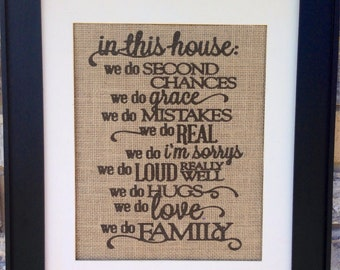 family rules on real burlap wall art