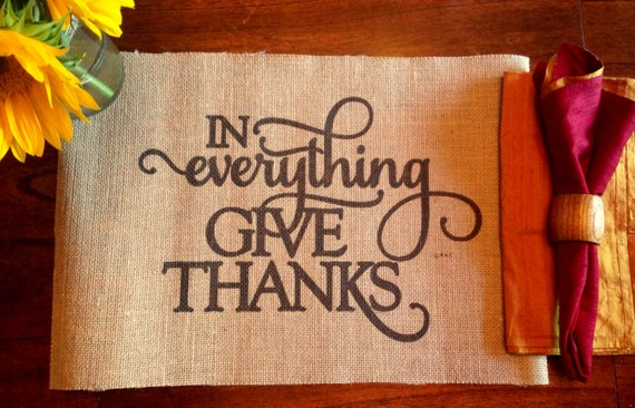 Burlap Placemat - In everything give thanks - Thanksgiving placemats