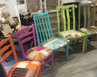Bright Painted Colourful Patchwork Chairs Multicoloured Dining Purples Single Set